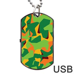 Initial Camouflage Green Orange Yellow Dog Tag Usb Flash (two Sides) by Mariart