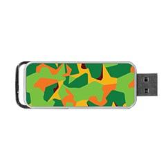 Initial Camouflage Green Orange Yellow Portable Usb Flash (two Sides) by Mariart