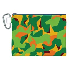 Initial Camouflage Green Orange Yellow Canvas Cosmetic Bag (xxl) by Mariart