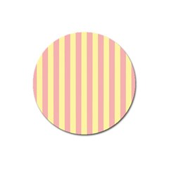 Pink Yellow Stripes Line Magnet 3  (round) by Mariart