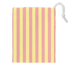 Pink Yellow Stripes Line Drawstring Pouches (xxl) by Mariart