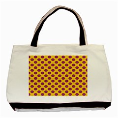 Polka Dot Purple Yellow Basic Tote Bag (two Sides) by Mariart