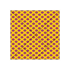 Polka Dot Purple Yellow Acrylic Tangram Puzzle (4  X 4 ) by Mariart