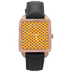 Polka Dot Purple Yellow Rose Gold Leather Watch  by Mariart