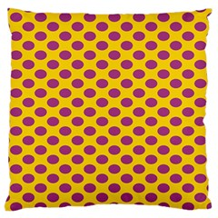 Polka Dot Purple Yellow Standard Flano Cushion Case (one Side) by Mariart