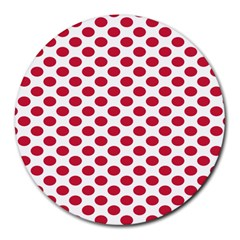 Polka Dot Red White Round Mousepads by Mariart