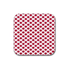 Polka Dot Red White Rubber Square Coaster (4 Pack)  by Mariart