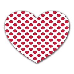 Polka Dot Red White Heart Mousepads by Mariart