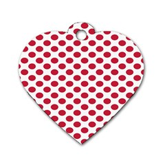 Polka Dot Red White Dog Tag Heart (one Side) by Mariart