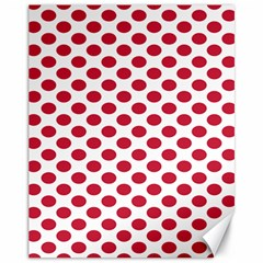 Polka Dot Red White Canvas 11  X 14   by Mariart