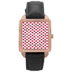 Polka Dot Red White Rose Gold Leather Watch  by Mariart