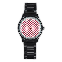 Polka Dot Red White Stainless Steel Round Watch by Mariart