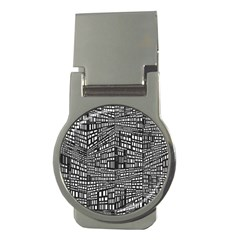 Plaid Black White Money Clips (Round)  by Mariart