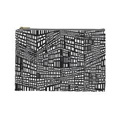 Plaid Black White Cosmetic Bag (large)  by Mariart