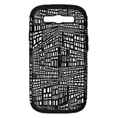 Plaid Black White Samsung Galaxy S Iii Hardshell Case (pc+silicone) by Mariart
