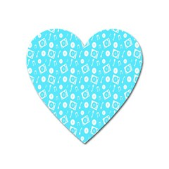 Record Blue Dj Music Note Club Heart Magnet by Mariart