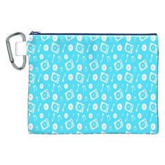 Record Blue Dj Music Note Club Canvas Cosmetic Bag (xxl) by Mariart