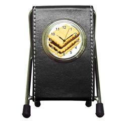 Sandwich Biscuit Chocolate Bread Pen Holder Desk Clocks by Mariart