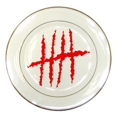 Scratches Claw Red White H Porcelain Plates by Mariart