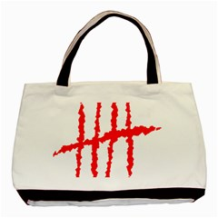 Scratches Claw Red White H Basic Tote Bag by Mariart