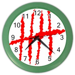 Scratches Claw Red White H Color Wall Clocks by Mariart