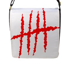 Scratches Claw Red White H Flap Messenger Bag (l)  by Mariart