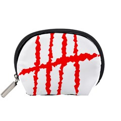 Scratches Claw Red White H Accessory Pouches (small)  by Mariart