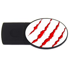 Scratches Claw Red White Usb Flash Drive Oval (4 Gb) by Mariart