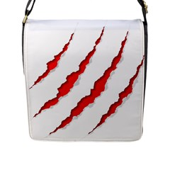 Scratches Claw Red White Flap Messenger Bag (l)  by Mariart