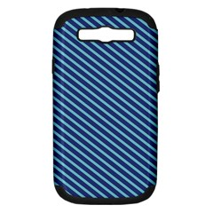 Striped  Line Blue Samsung Galaxy S Iii Hardshell Case (pc+silicone) by Mariart