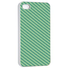 Striped Green Apple Iphone 4/4s Seamless Case (white) by Mariart