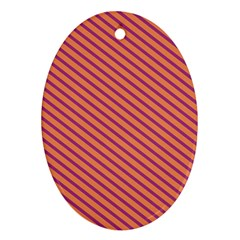 Striped Purple Orange Oval Ornament (two Sides) by Mariart