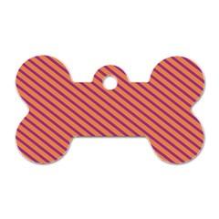 Striped Purple Orange Dog Tag Bone (two Sides) by Mariart
