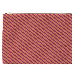 Striped Purple Orange Cosmetic Bag (xxl)  by Mariart
