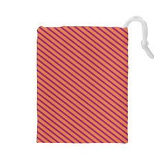 Striped Purple Orange Drawstring Pouches (large)  by Mariart