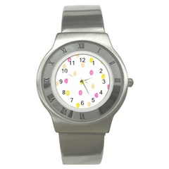 Stone Diamond Yellow Pink Brown Stainless Steel Watch by Mariart