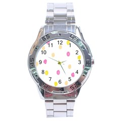 Stone Diamond Yellow Pink Brown Stainless Steel Analogue Watch by Mariart