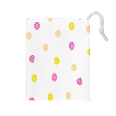 Stone Diamond Yellow Pink Brown Drawstring Pouches (large)  by Mariart