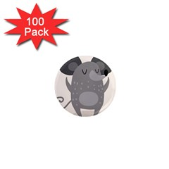 Tooth Bigstock Cute Cartoon Mouse Grey Animals Pest 1  Mini Magnets (100 Pack)  by Mariart