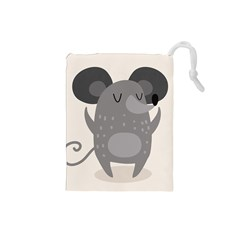 Tooth Bigstock Cute Cartoon Mouse Grey Animals Pest Drawstring Pouches (small)  by Mariart