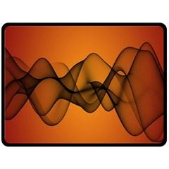 Transparent Waves Wave Orange Double Sided Fleece Blanket (large)  by Mariart