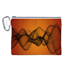 Transparent Waves Wave Orange Canvas Cosmetic Bag (l) by Mariart