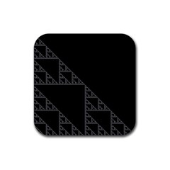 Triangle Black White Chevron Rubber Square Coaster (4 Pack)  by Mariart