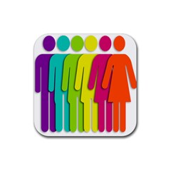 Trans Gender Purple Green Blue Yellow Red Orange Color Rainbow Sign Rubber Square Coaster (4 Pack)  by Mariart