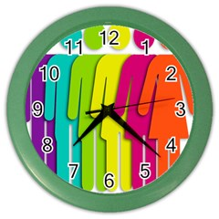 Trans Gender Purple Green Blue Yellow Red Orange Color Rainbow Sign Color Wall Clocks by Mariart