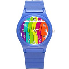 Trans Gender Purple Green Blue Yellow Red Orange Color Rainbow Sign Round Plastic Sport Watch (s) by Mariart
