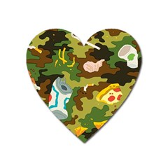 Urban Camo Green Brown Grey Pizza Strom Heart Magnet by Mariart
