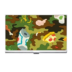 Urban Camo Green Brown Grey Pizza Strom Business Card Holders by Mariart