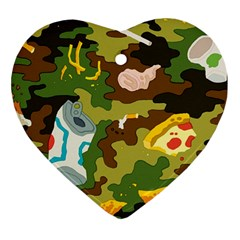 Urban Camo Green Brown Grey Pizza Strom Heart Ornament (two Sides) by Mariart