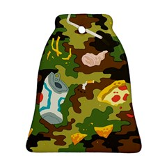 Urban Camo Green Brown Grey Pizza Strom Ornament (bell) by Mariart